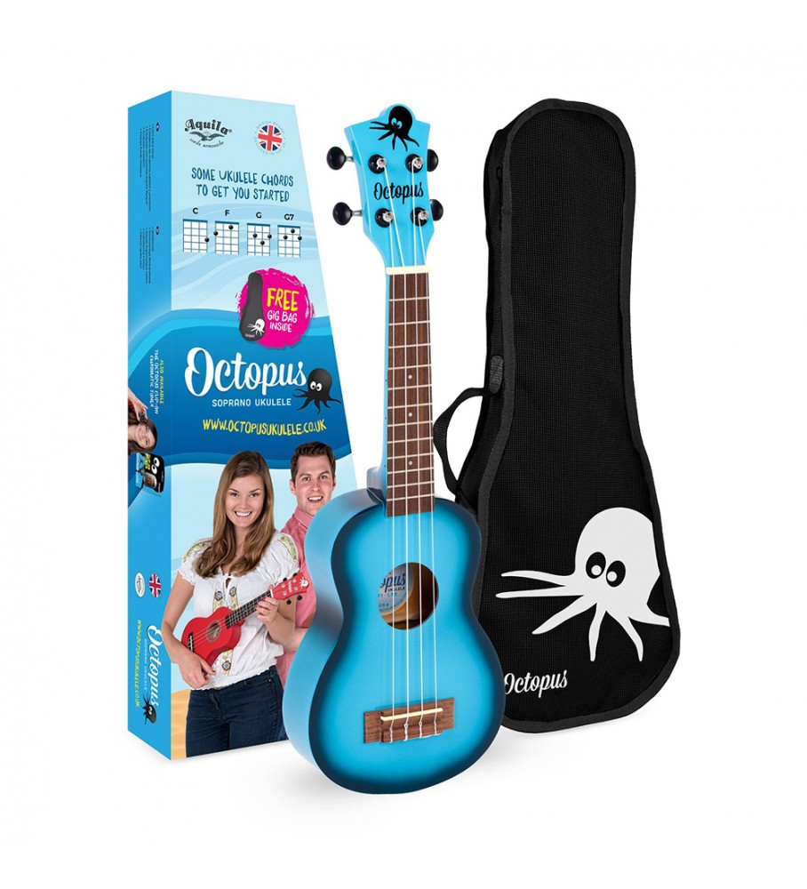 Música Asensio Ukelele Octopus tamaño Soprano UK-205LBB de color Azul Cielo Burst