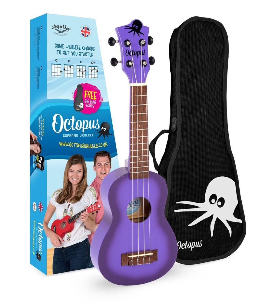 Música Asensio Ukelele Octopus tamaño soprano UK-200PUB Púrpura Burst